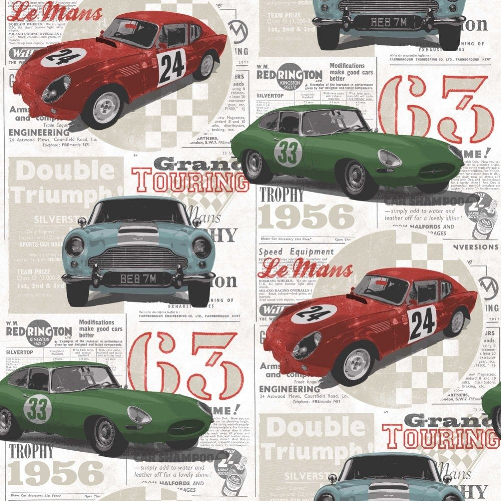 Vintage Race Cars Kids Bedroom Wallpaper Red Green Blue Fd40283 Cores Of Wallpaper Quartos