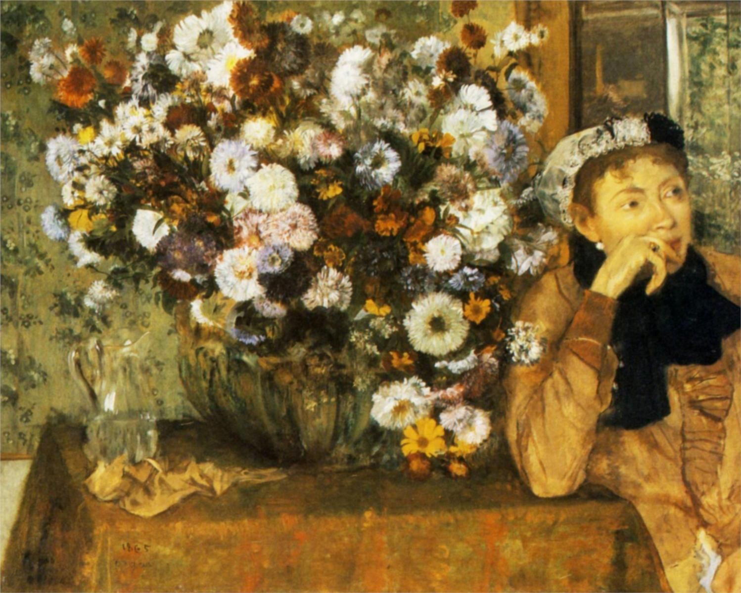 A Woman Seated beside a Vase of Flowers (1865) - Edgar Degas