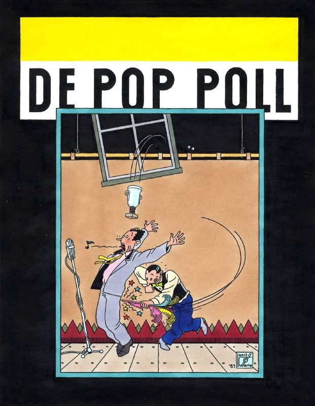 1983 - De Pop Poll - Humo (Colored cover BV) Original Comic Art. JOOST SWARTE - born 1947 - The Netherlands De Pop Poll Cover magazine - Ink + ecoline on paper - 30x25 cm Publication Belgian Magazine 'Humo' 1983.