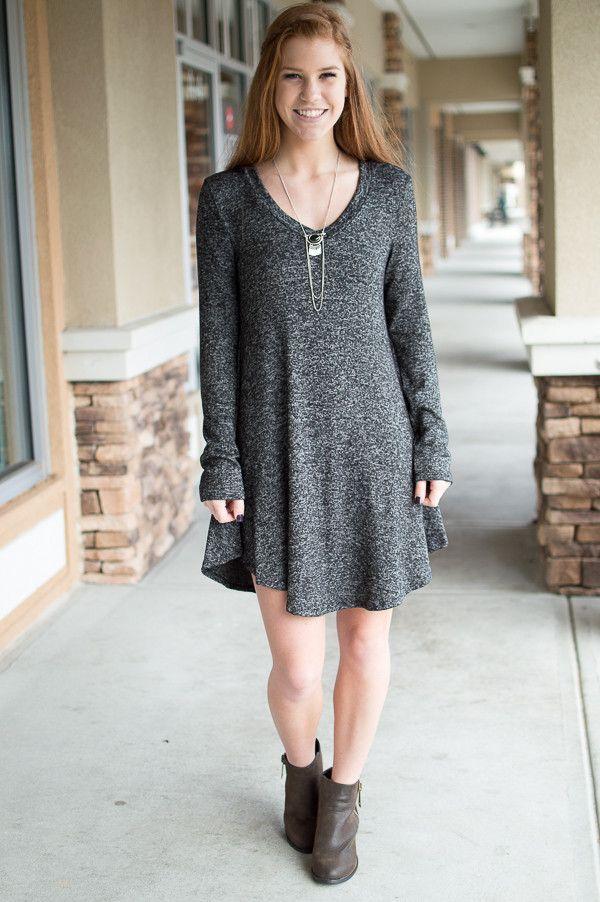 black mix v neck flare dress