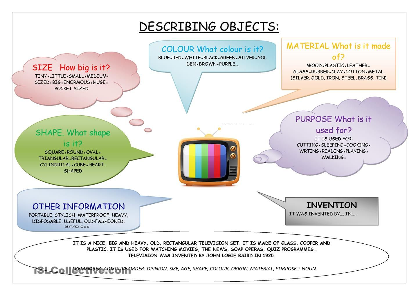 Describing Objects Adjectives Elementary Adjectives Adjective Words [ 1018 x 1440 Pixel ]