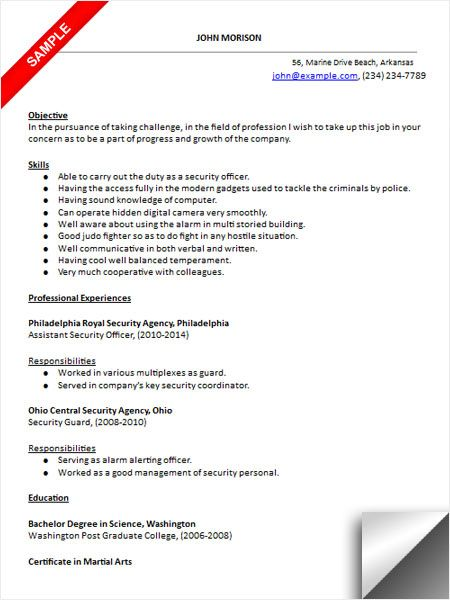 Download Security Officer Resume Sample | Resume Examples in 2018 ...