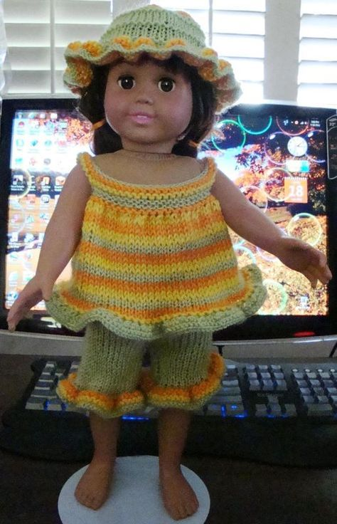 Ladyfingers - AG doll - Ruffled Playsuit and Hat | Knitting | Pinterest