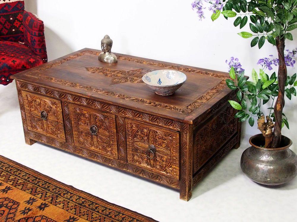 120x67cm Kolonialstil Wohnzimmertisch Tischtruhe Tisch Couchtisch