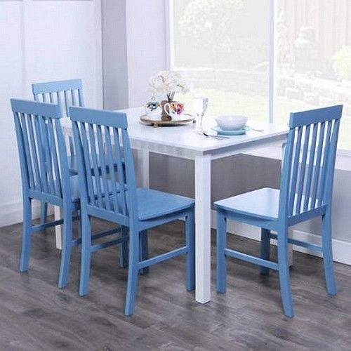 Wood 5 Piece Dining Set Blue Kitchen Table  Chairs Modern Living