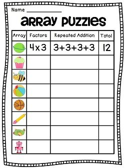 arrays arrays arrays 2nd grade everyday math math. Black Bedroom Furniture Sets. Home Design Ideas