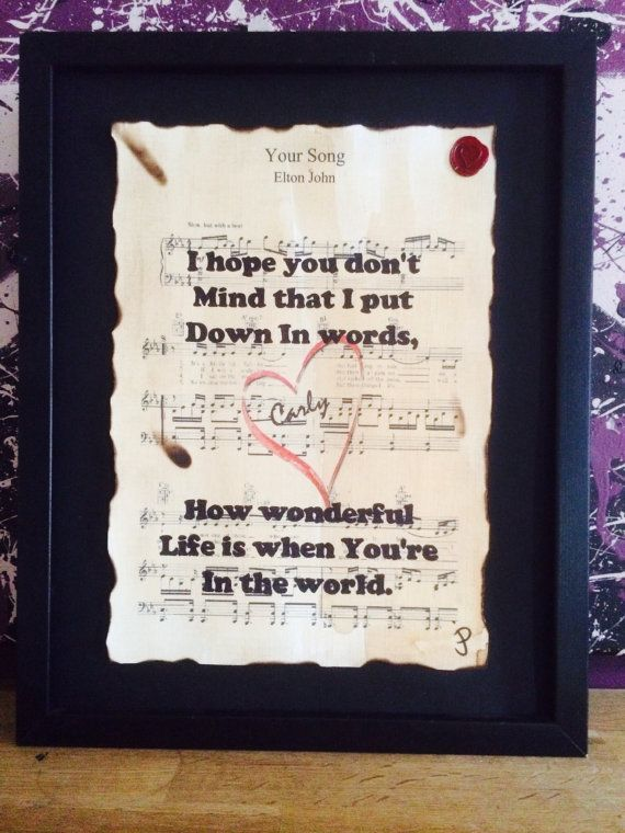 Elton John Your Song Song Lyrics Typographic Art Sheet Etsy Sheet Music Artwork Music Print Valentines
