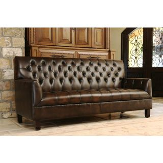 Abbyson Living Alessio Hand Rubbed Bonded Leather Sofa Furniture