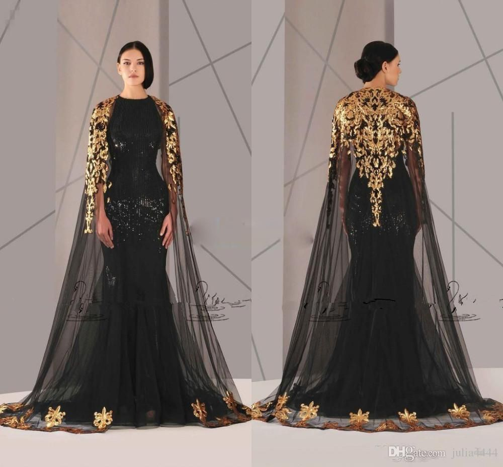 Antonios couture black mermaid prom dresses with gold cape