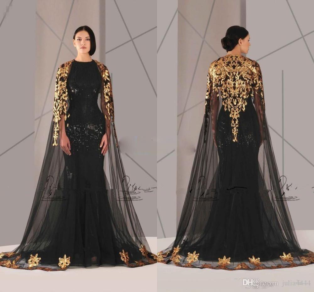 Antonios couture black mermaid prom dresses with gold cape