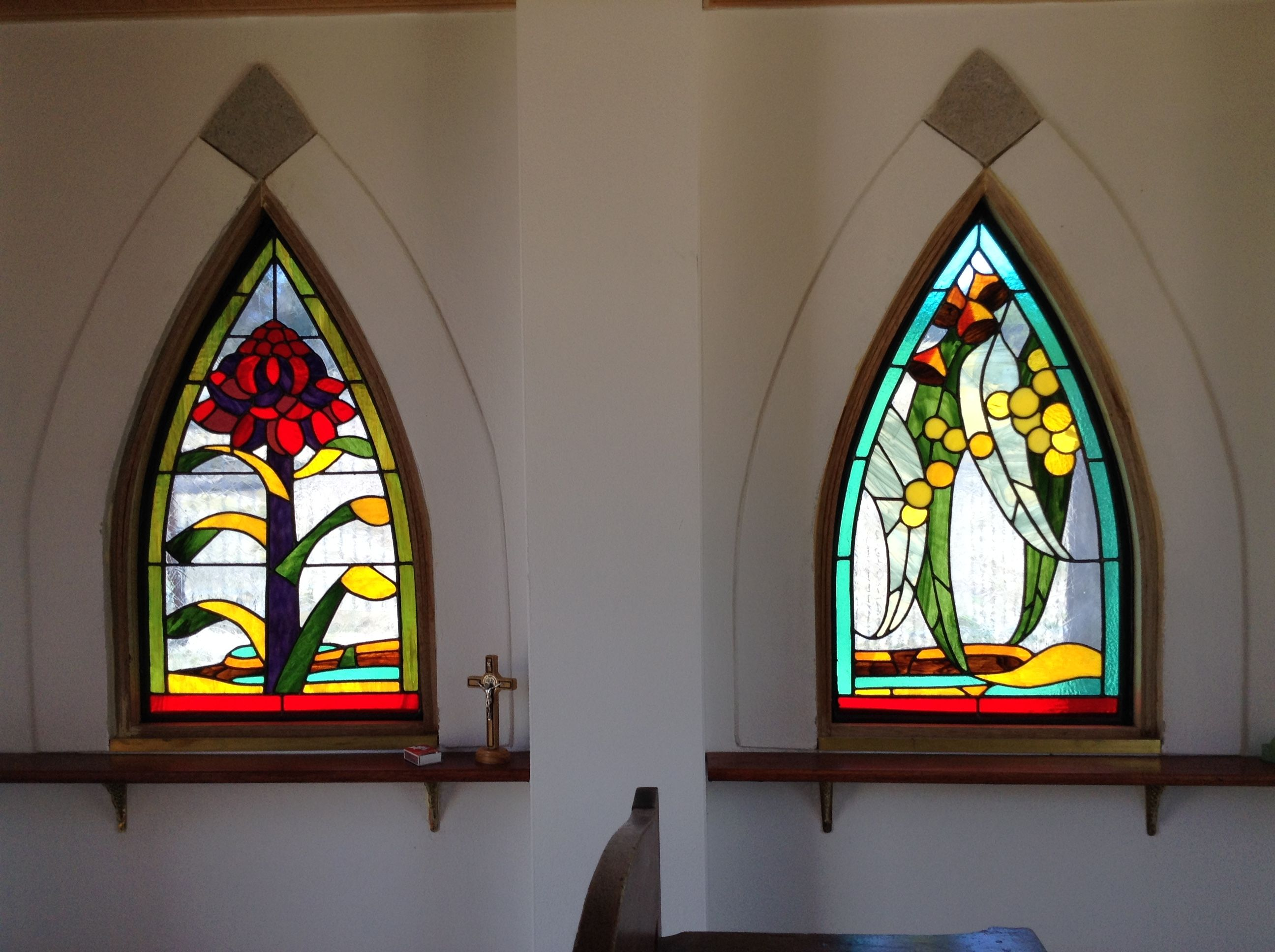 Lead Light Windows. Designed and constructed by Helen Bonica. Installed at The Tiny Chapel in The Kanimbla Valley NSW.