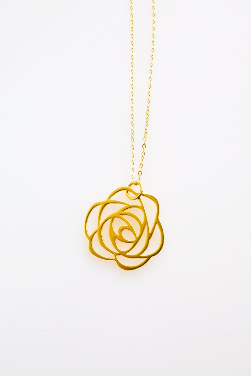 24K Gold Rose Necklace - www.talulahlee.com