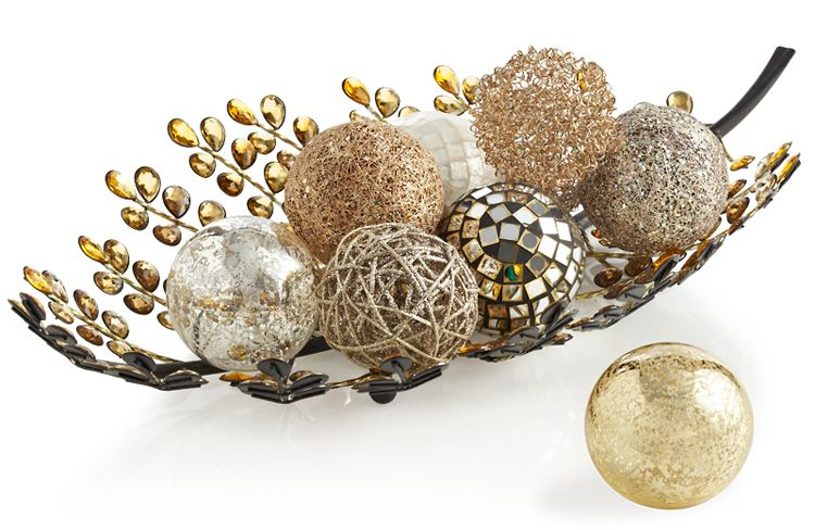 Decorative Balls For Bowls Impressive Assorted Decorative Spheres In A Pier 1 Amber Dazzle Leafshaped Design Decoration