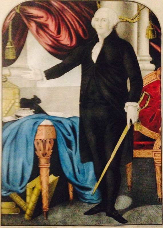 George Washington First In War First In Peace Hand Painted Original Lithograph Americana Kelloggs Comstock 1848 50 Vintage Art Prints Lithograph New Orleans Museums