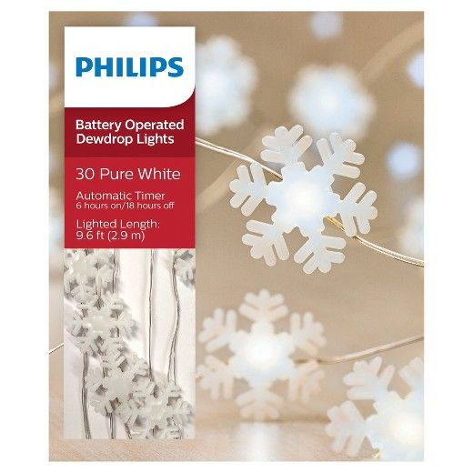 Philips 30ct Christmas Battery Operated Led Frosted Snowflakes