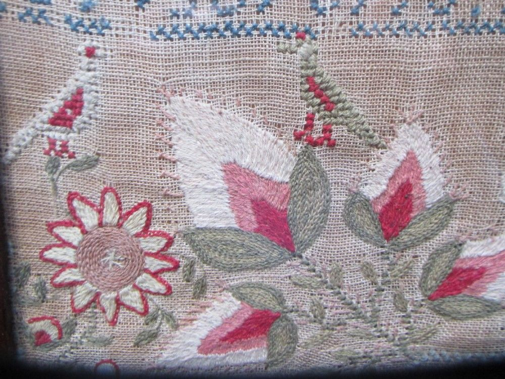 scottish silk wool sampler c1842 a few short years of evil past thistles love birds etc - photo angle #3