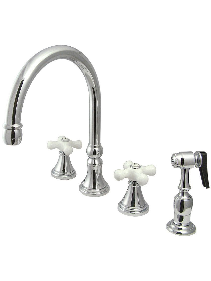 Bar Harbor Double Handle Kitchen Faucet With Sprayer And White Porcelain Cross Handles Elements Of Design Faucet Polished Brass