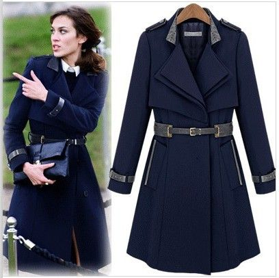Free Shipping 2015 New Fashion Autumn Winter Women's Woolen Trench ...