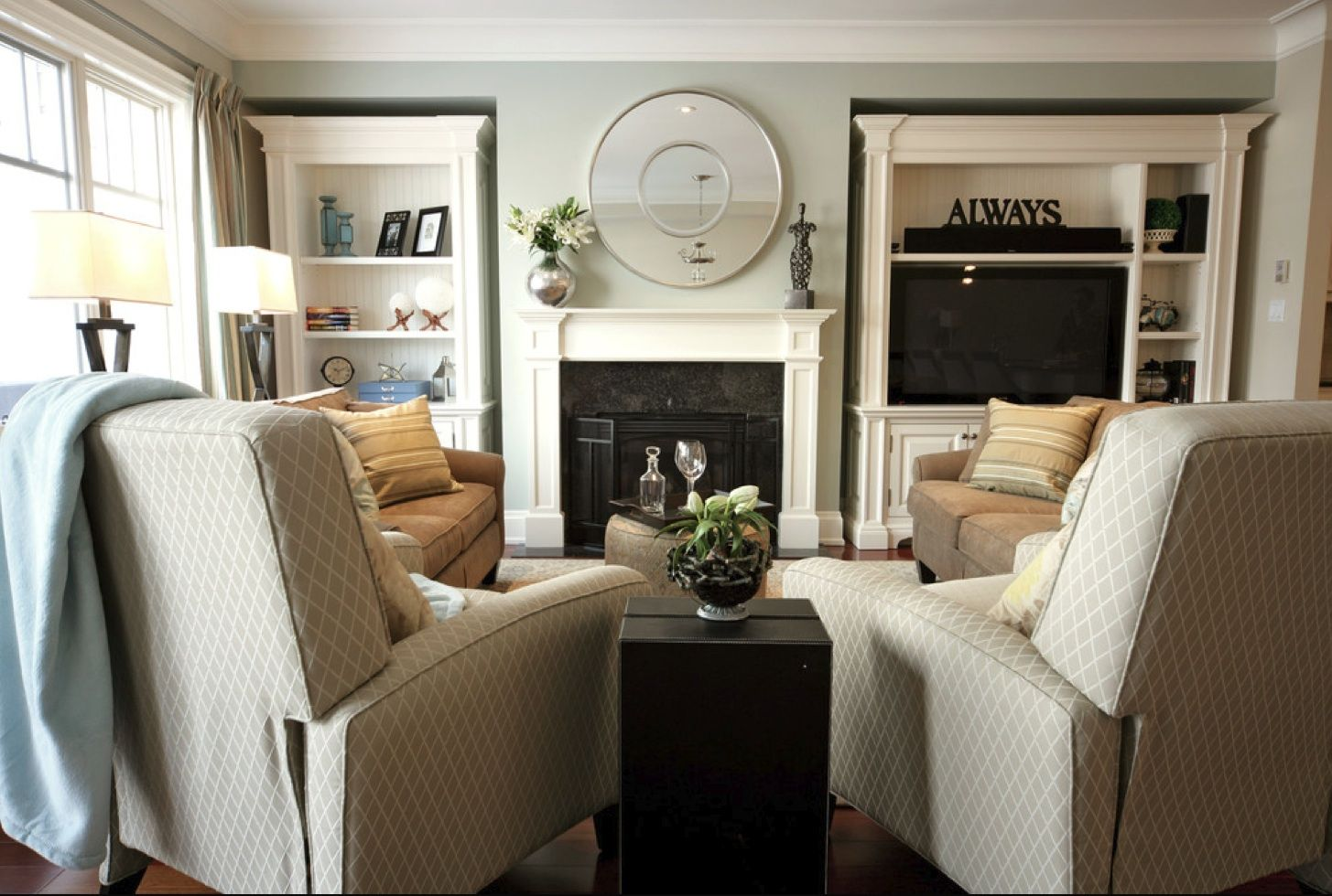 Traditional Living Room Furniture Placement living room with two recliners & two couches | home inspiration