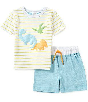 e32ce2e9fe2e Starting Out Baby Boys 12-24 Months Dinosaur-Appliqued Short-Sleeve Tee   Shorts  Set