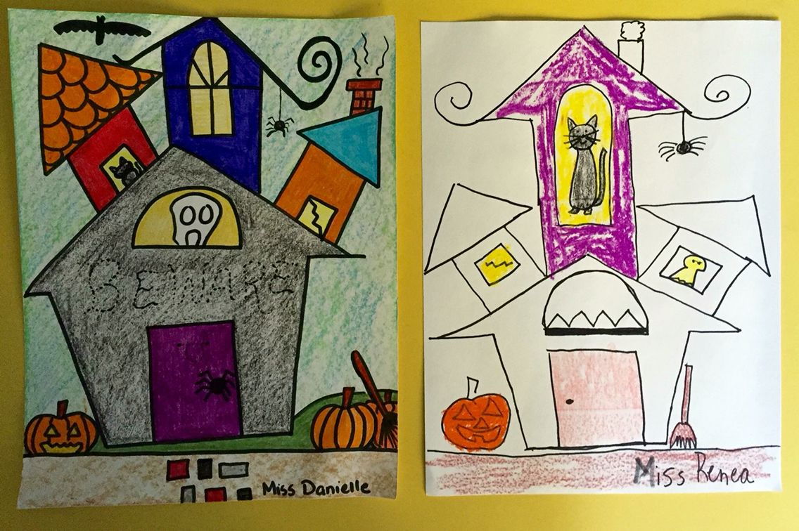 Directed Drawing Haunted House With Images House Drawing For