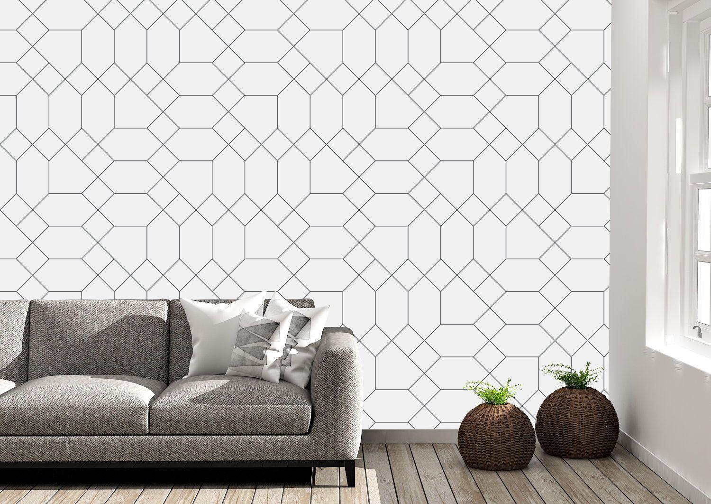 Removable Peel And Stick Wallpaper Black And White Geometric Etsy In 2020 Peel And Stick Wallpaper Lines Wallpaper Vinyl Wallpaper