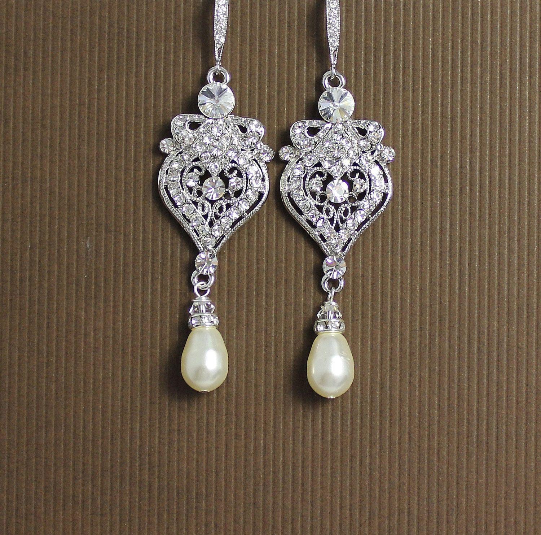 Crystal and pearl drop chandelier earrings art by