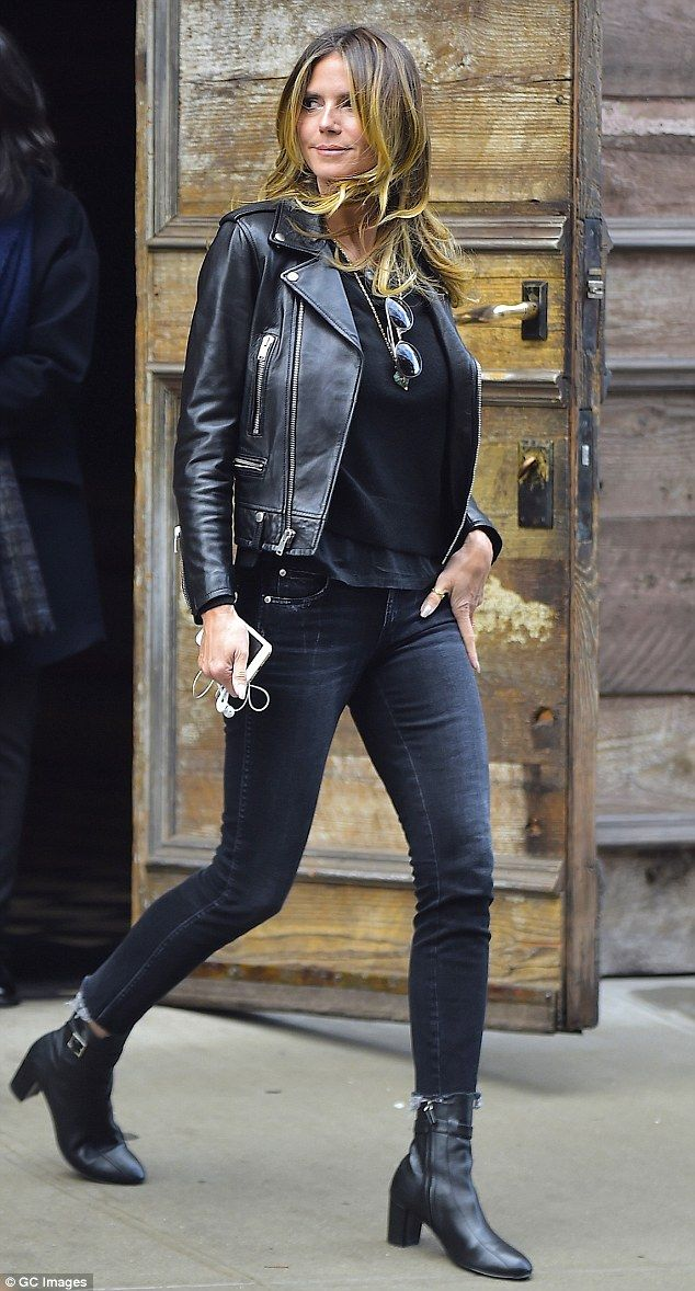 c7525443b1a9 What an outfit! Heidi Klum was spotted in New York City on Thursday in a  black ensemble with a leather jacket and tight jeans