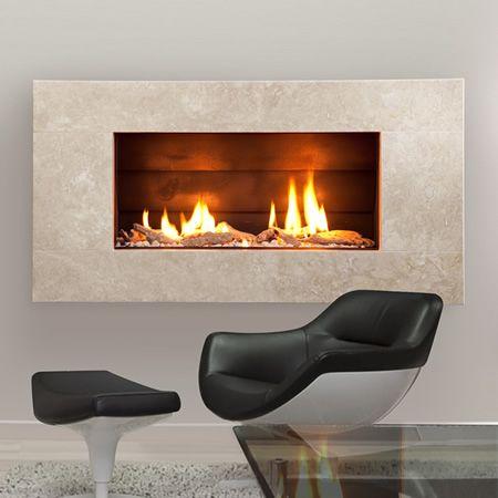 Escea St900 Indoor Gas Fireplace Travertine Natural Stone Molaris Fascia Indoor Gas Fireplace Gas Fireplace Direct Vent Gas Fireplace