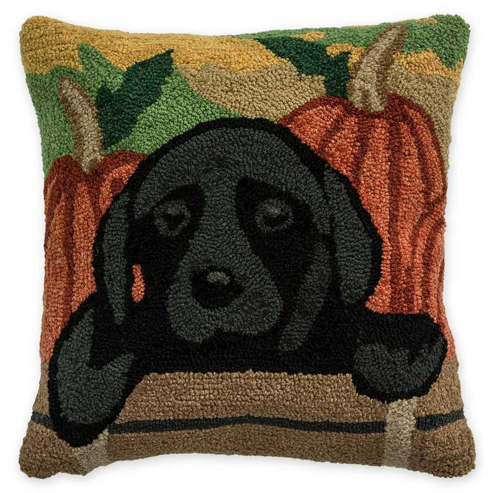 Indoor Outdoor Autumn Pup Black Lab Throw Pillow Plow Hearth