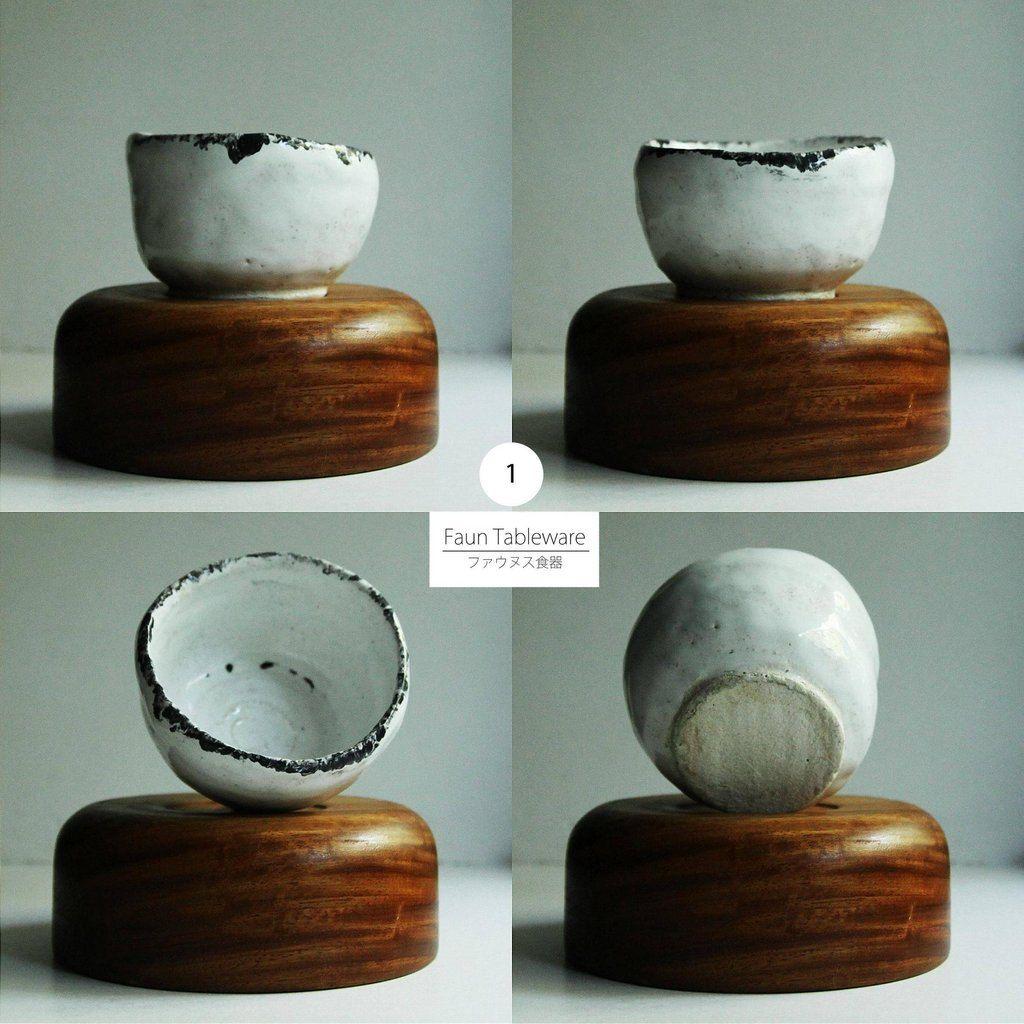 Japanese Pottery Set Wabi Sabi Raku Cups And Bowls By