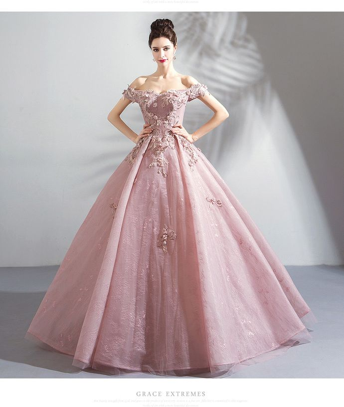 Elegant Embroidery Embellishment Ball Gown Traditional: Elegant Pink Embroidery Tulle Women Prom Dress Ball Gown