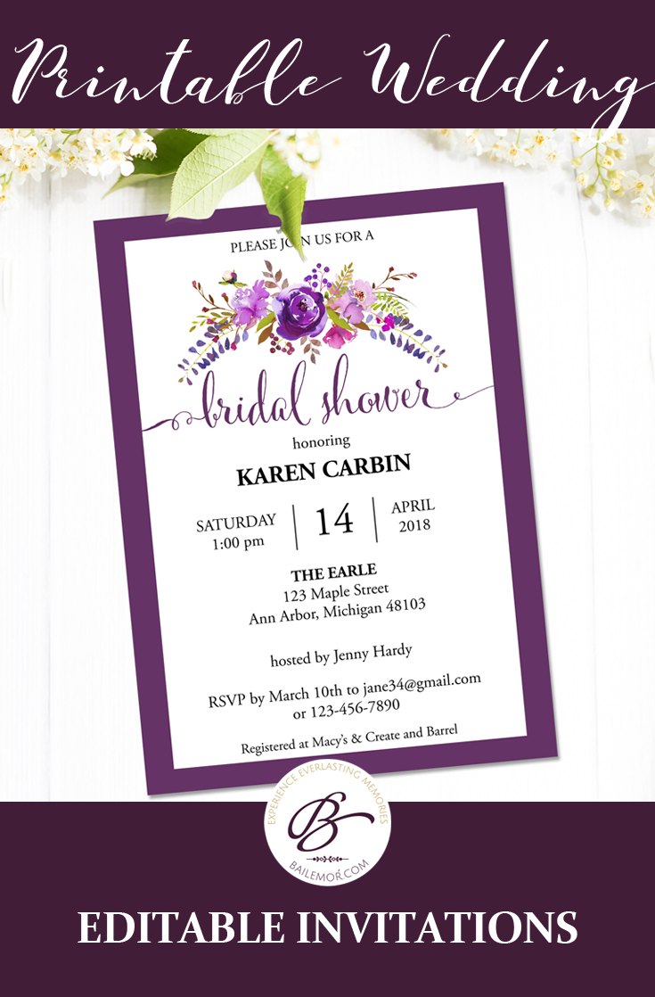 Editable bridal shower template with purple flower design printable