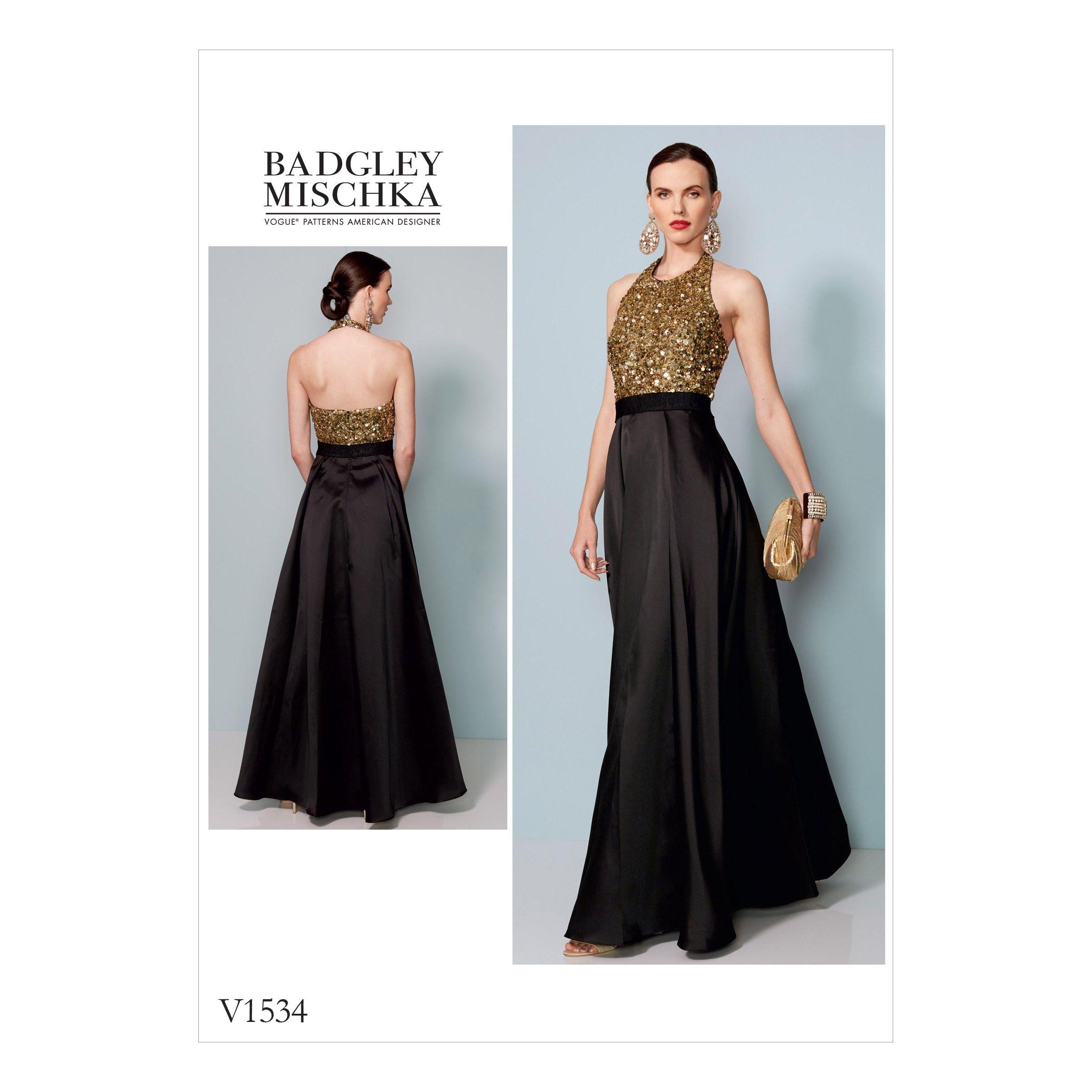V1534 Misses\' Halter-Neck, Pleated Floor-Length Dress (size: 14-16 ...