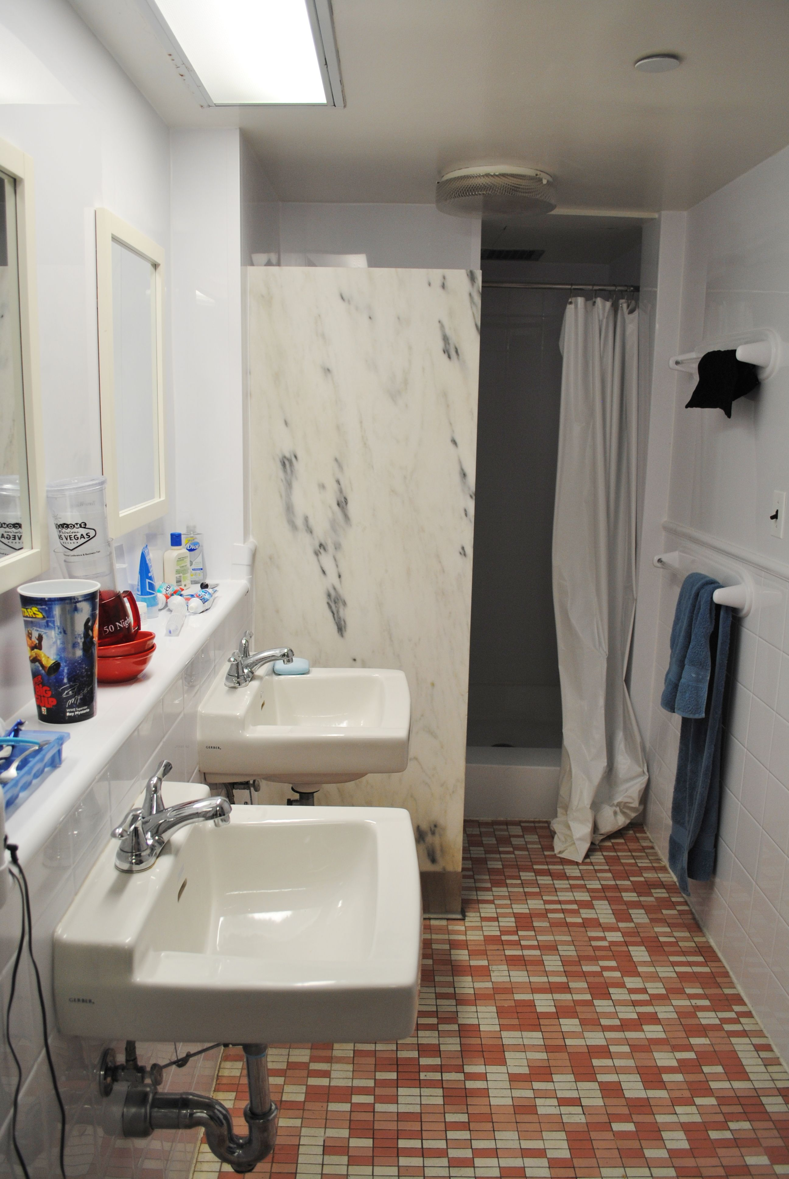 Typical Dorm Room: The Typical Suite Bathroom. #mville #reslife