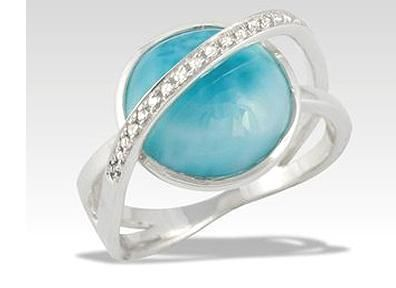 Size 7 Beautiful Heart Shaped Larimar Solitaire Ring
