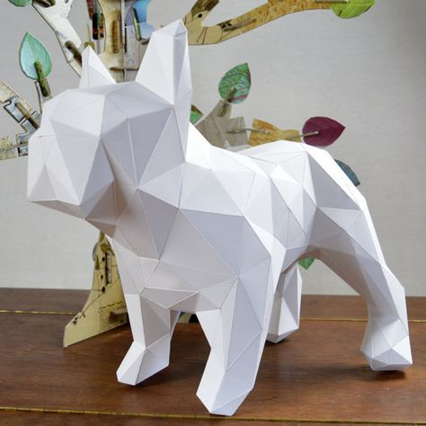 dogo diy folding kit for a beautiful geometric low poly diamond style french bulldog papercraft