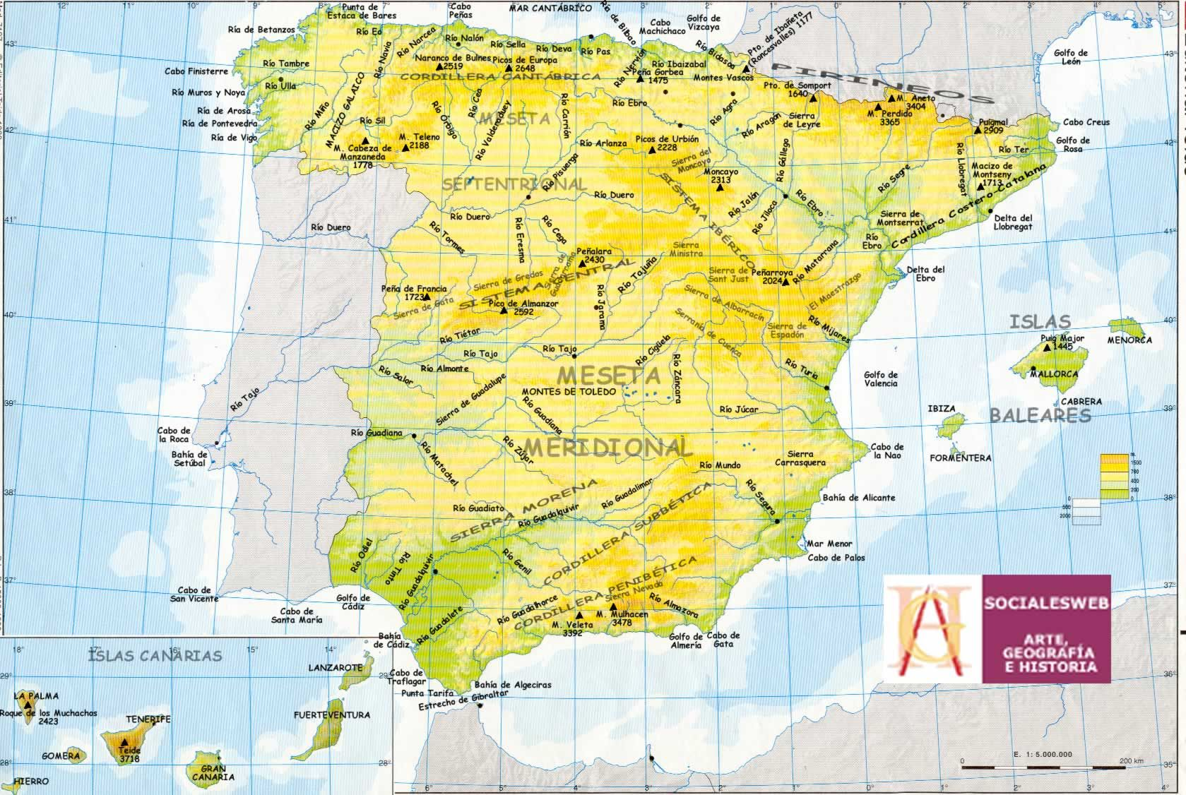 Mapa Fisico Peninsula Iberica Rios.Cabos Golfos Rios De Espana Rios De Espana Mapa De