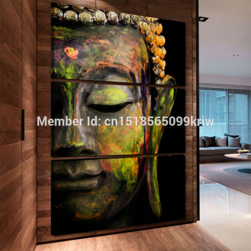 3 Panel Wall Art Religion Buddha Style Painting Canvas home
