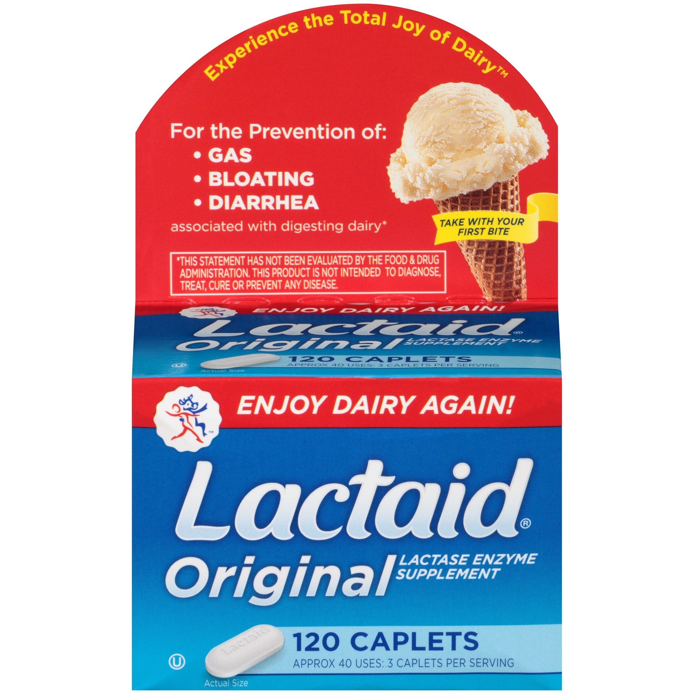 Lactaid Caplets, Lactase Enzyme Supplement, 120 Count