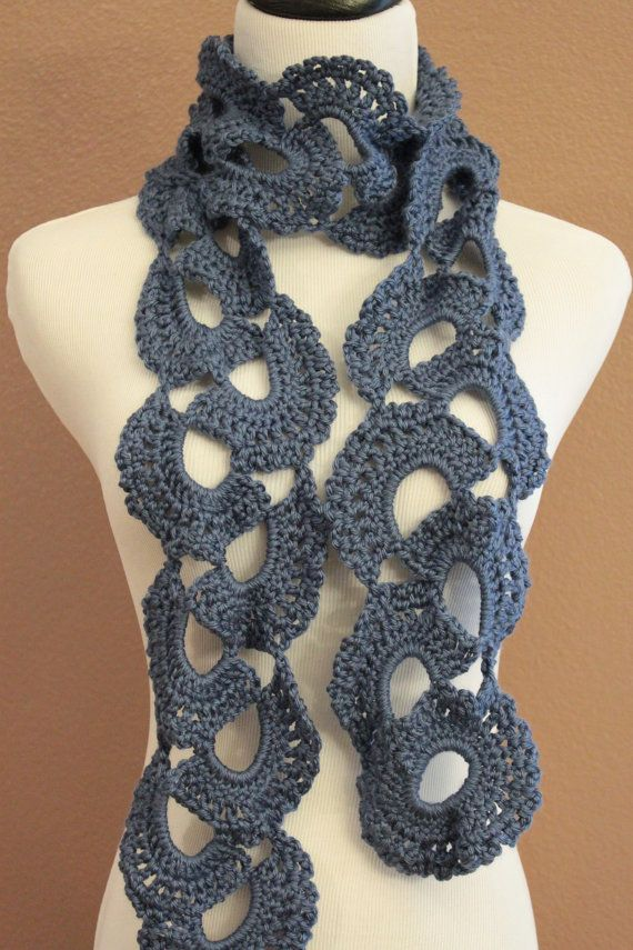 Crochet Scarf Chunky Queen Annes Lace Blue | Crochet Accessories ...