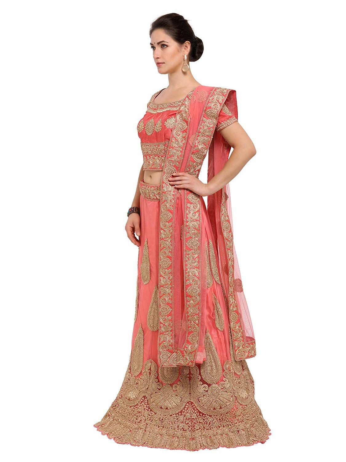 a49fab51b6e Inddus Pink Zari Embroidered Semi Stitched Lehenga Choli  Amazon.in   Clothing   Accessories