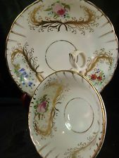 ANTIQUE GOODWIN & BULLOCK TEA CUP AND SAUCER H.P. FLOWERS GOLD RIBBONS c1841-50