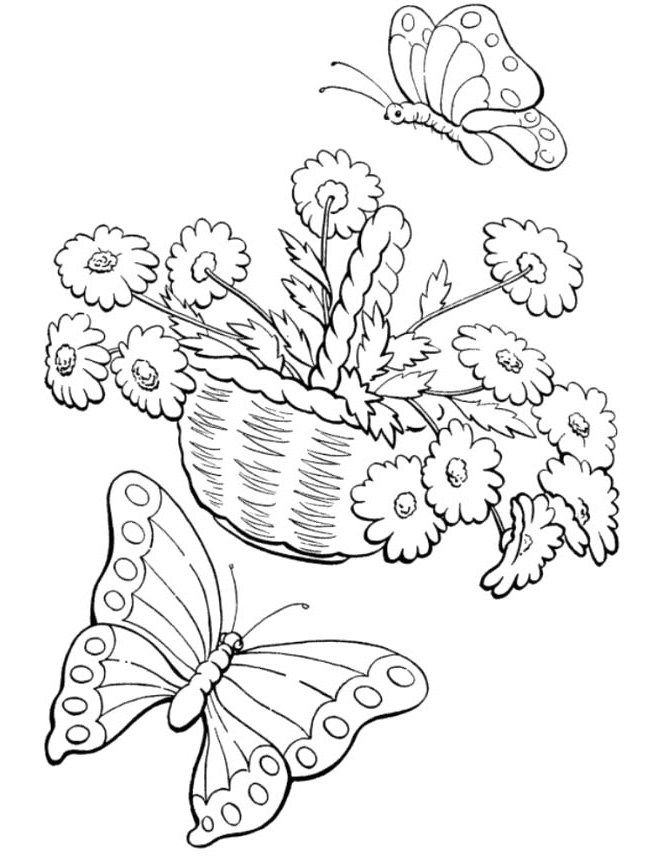 Welcome Spring Coloring Pages Butterflies With Flowers Coloring