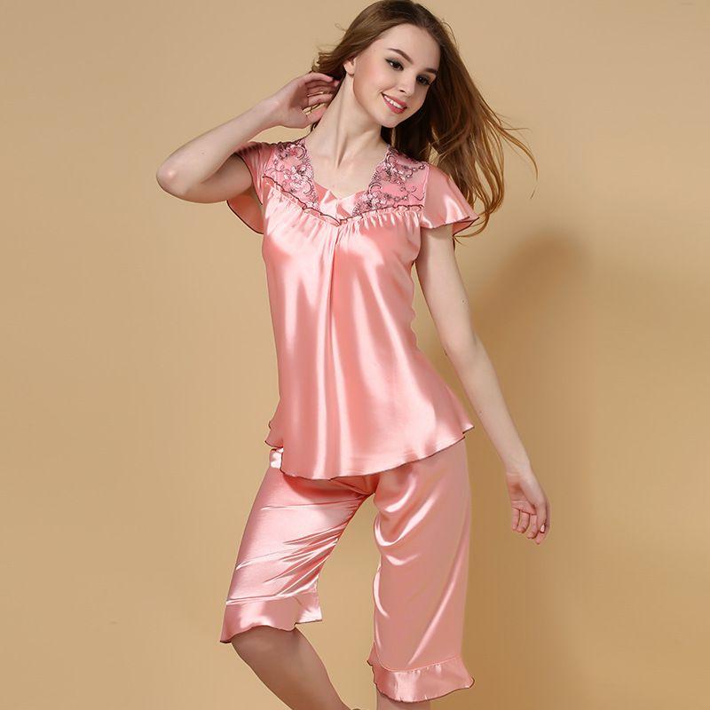 1dc08a1ac2 Estilo del verano De Seda imitado Pijamas para mujer ropa De Dormir suave mujeres  pijama mercado