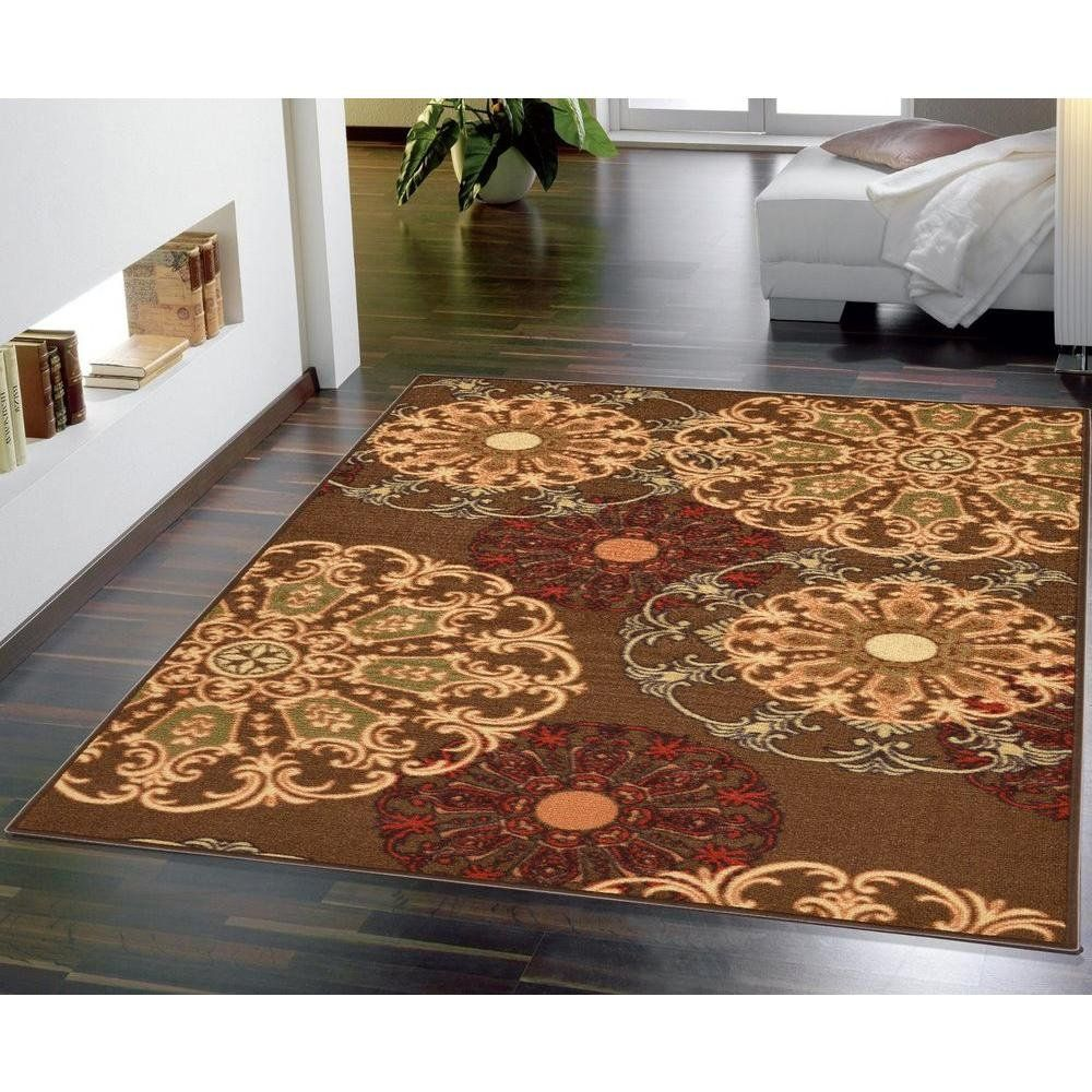 Ottomanson Ottohome Collection Contemporary Damask Design Nonskid Nonslip Rubber Backing Area Rug 33 X 5 Brown Want Additional Info Rugs Area Rugs Design