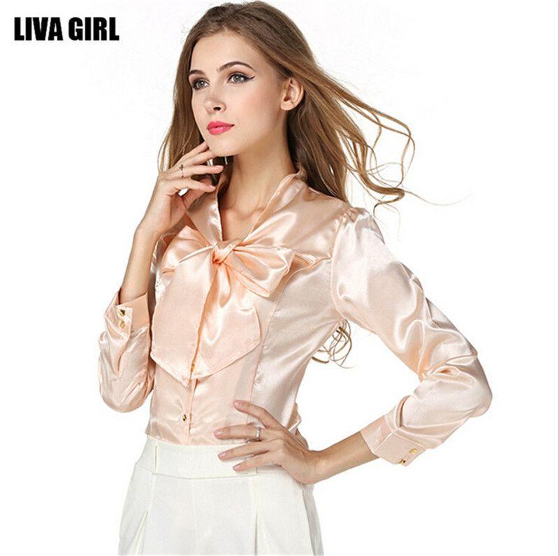 Mainland Plus Size S-3XL Bow Slim Shirt Blouse Elegant Fashion ...
