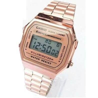 87a7f2a2cb6c Reloj Casio Rosa Dorado A168 ...