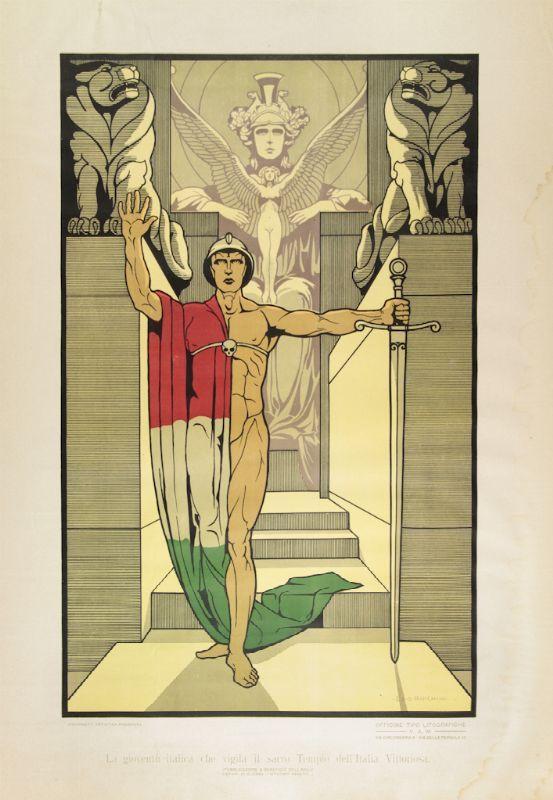 Ezio Anichini (Firenze, 1886 - 1948) La gioventù italica che vigila il sacro Tempio dell'Italia Vittoriosa. 1920 ca