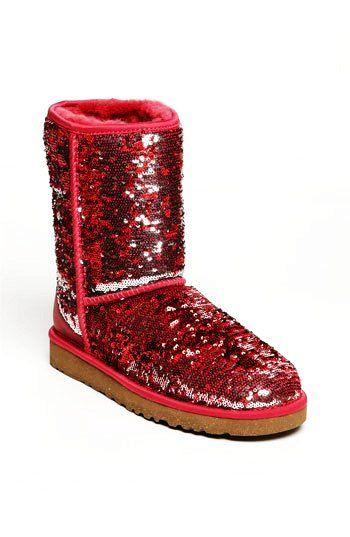 Red Sparkle Sequin Girls UGG Boots #ugg